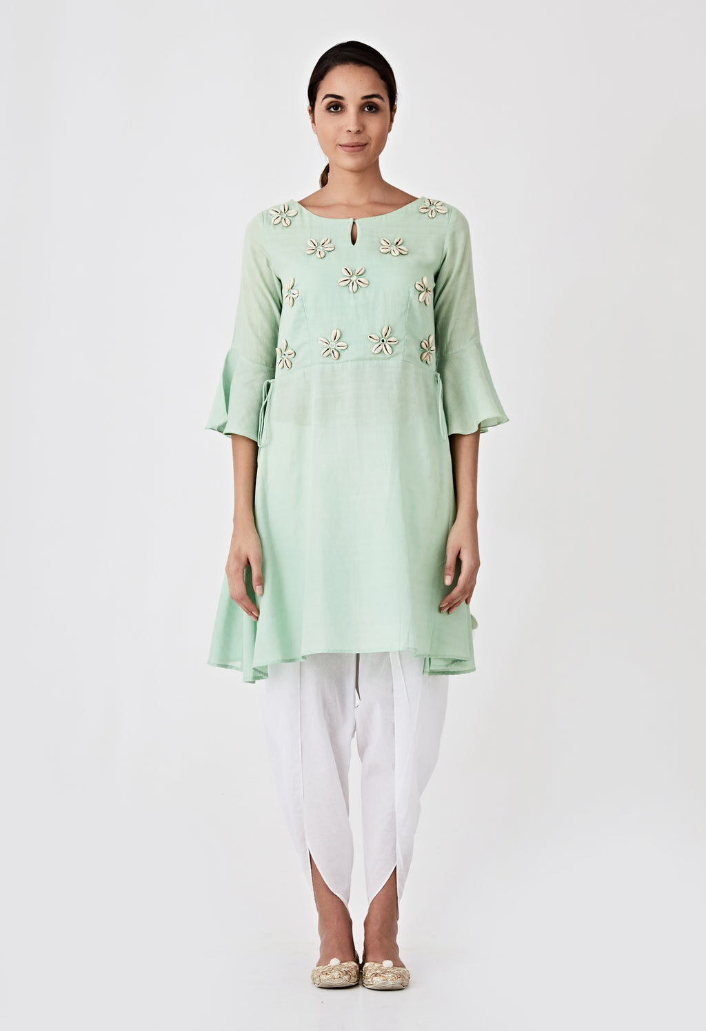 Kori Embroidery Kurta - Sea Green