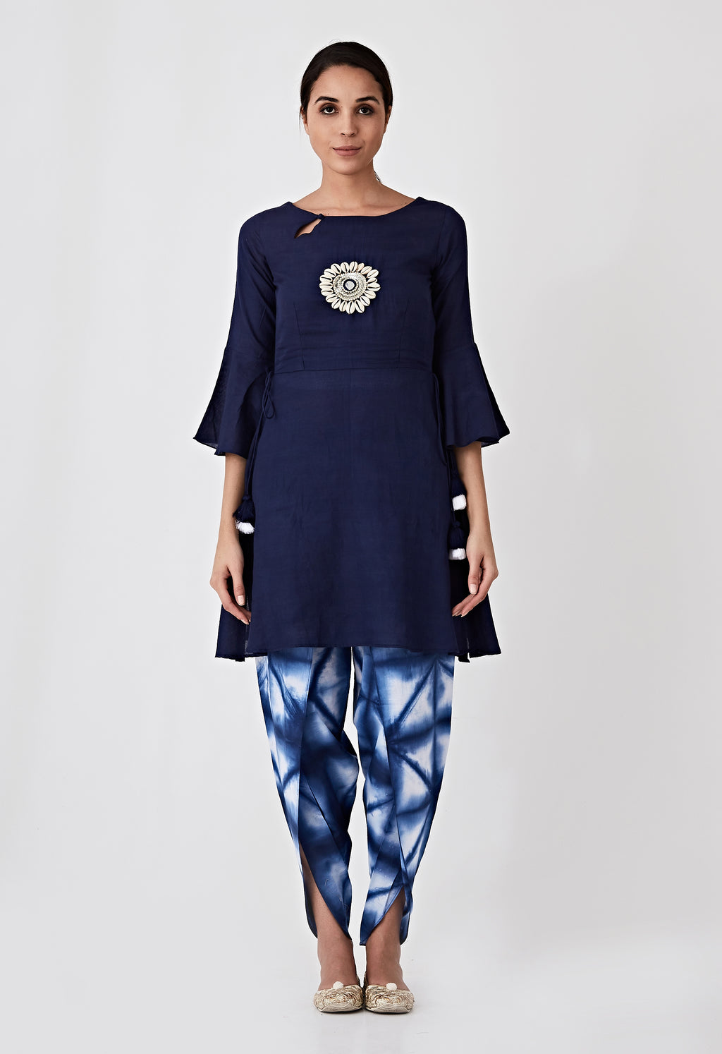 Kori Embroidery Kurta - Navy Blue