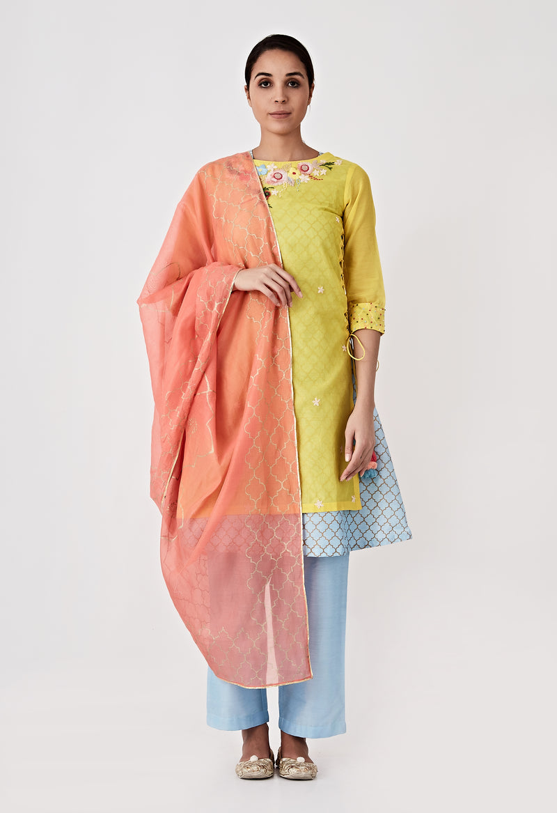 Yellow Chanderi Hand Embroidered Kurta Set of 4