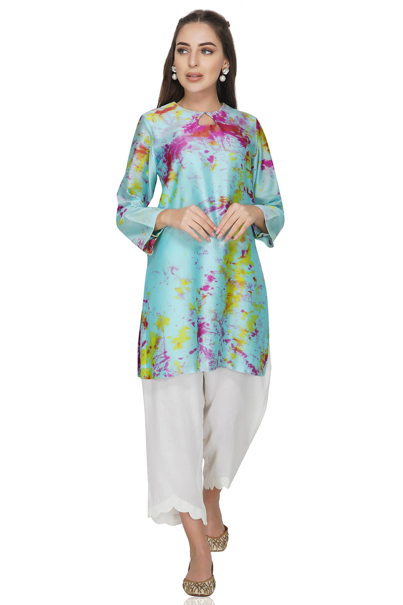 Blue Tie and Dye Chanderi Silk Kurta with White Cotton Pants - Set of 2
