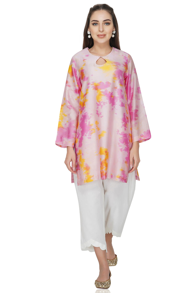 Blue Tie and Dye Chanderi Silk Kurta