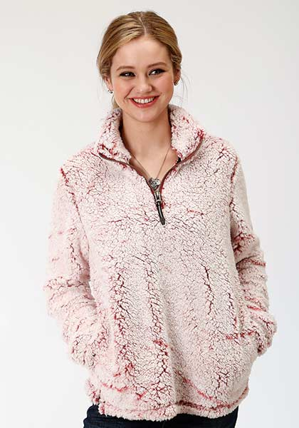 'Roper' Women's Fuzzy Fleece Pullover - Wine