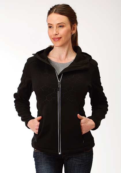 'Roper' Bonded Hooded Fleece Jacket - Black