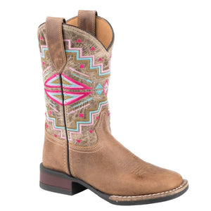 "'Roper' Youth 9"" Monterey Western Square Toe - Tan / Aztec"