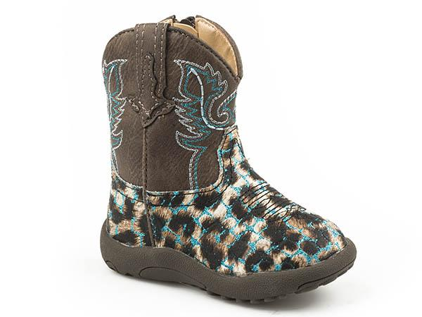 'Roper' Toddler Girls' Cowbabies Glitter Leopard -  Brown / Turquoise