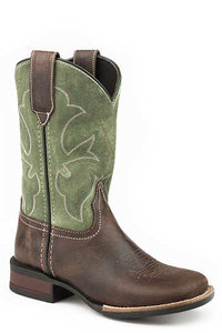 "'Roper' Kids' 9"" Monterey Square Toe - Brown / Vintage Green"