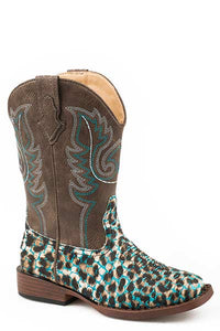 "'Roper' Little Kids 9"" Glitter Leopard Square Toe - Turquoise/Tan"