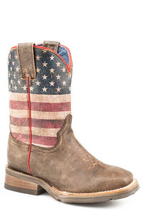 "'Roper' Kids' 8"" Lil America Boot - Brown / Flag"