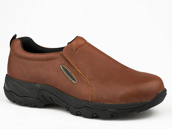 'Roper' Men's Tumbled Leather Performance Slip On - Brown