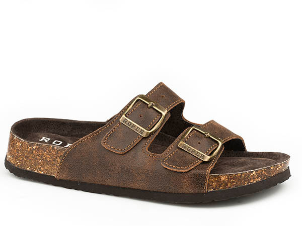 'Roper' Women's Delilah Two Strap Leather Sandal - Brown