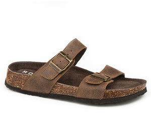 'Roper' Women's Jezebel Two Strap Vintage Leather Sandal - Brown