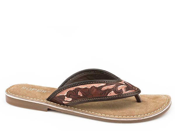 'Roper' Women's Penelope Tooled Thong Sandal - Brown