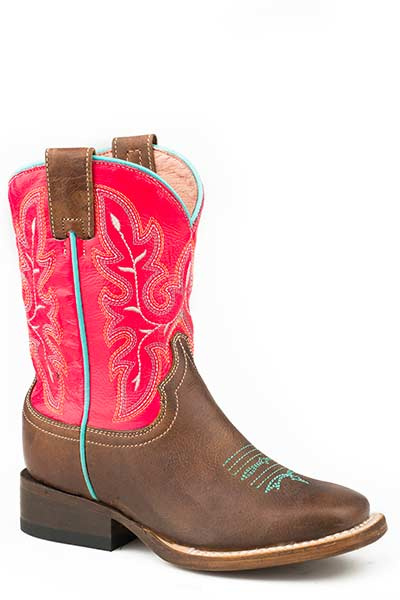 'Roper' Big Kids Girls' Square Toe - Brown / Pink