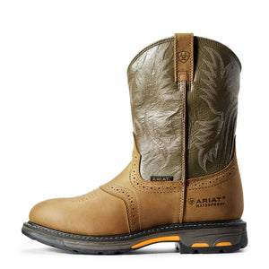 "'Ariat' Men's 10"" WP Workhog - Tan / Green"
