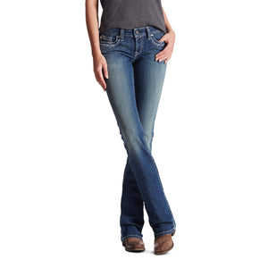 'Ariat' Women's R.E.A.L Mid Rise Stretch Entwined Boot Cut - Medium Wash