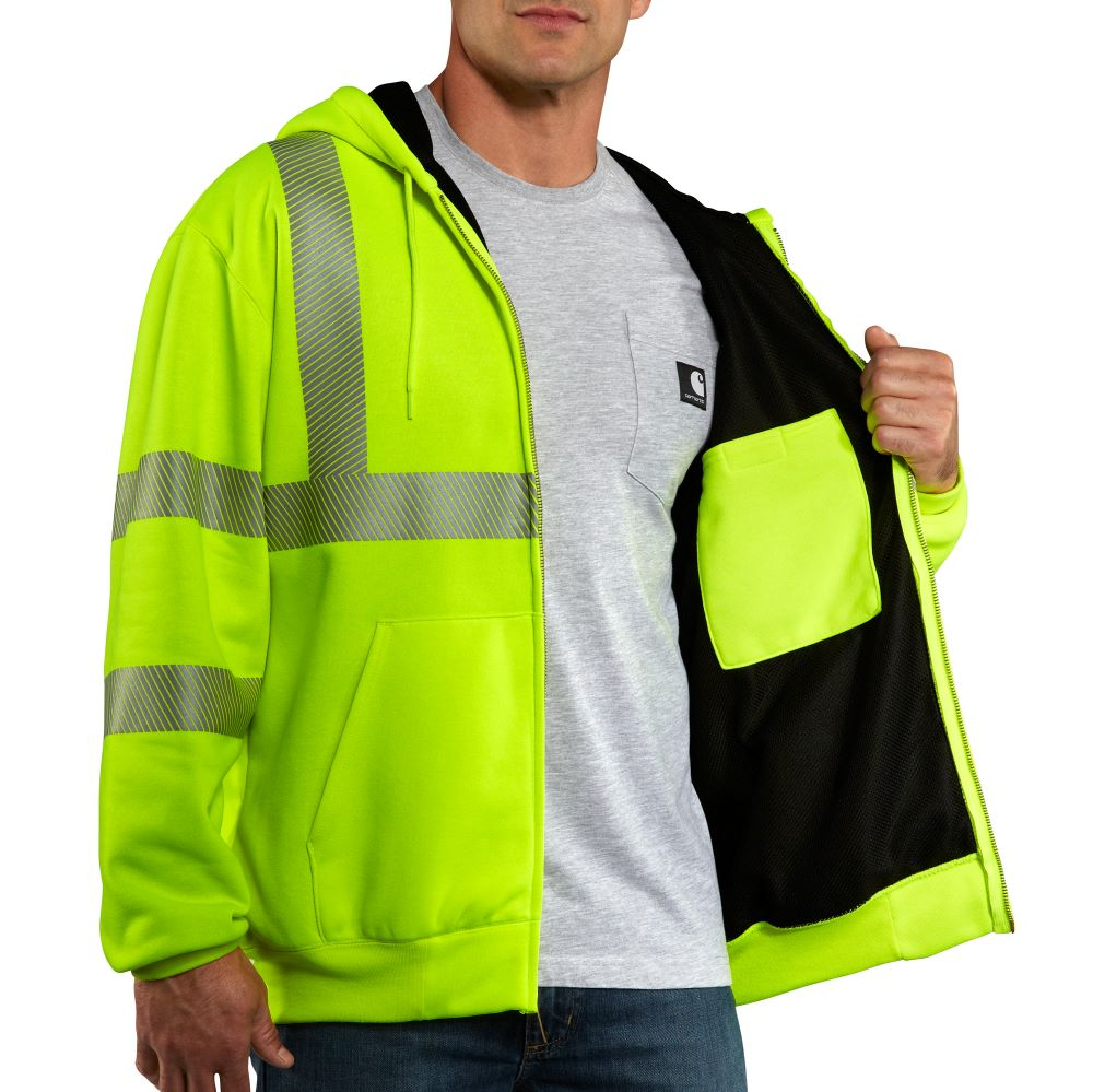 'Carhartt' Men's High-Visibility Class 3 Thermal Lined Sweatshirt - Brite Lime