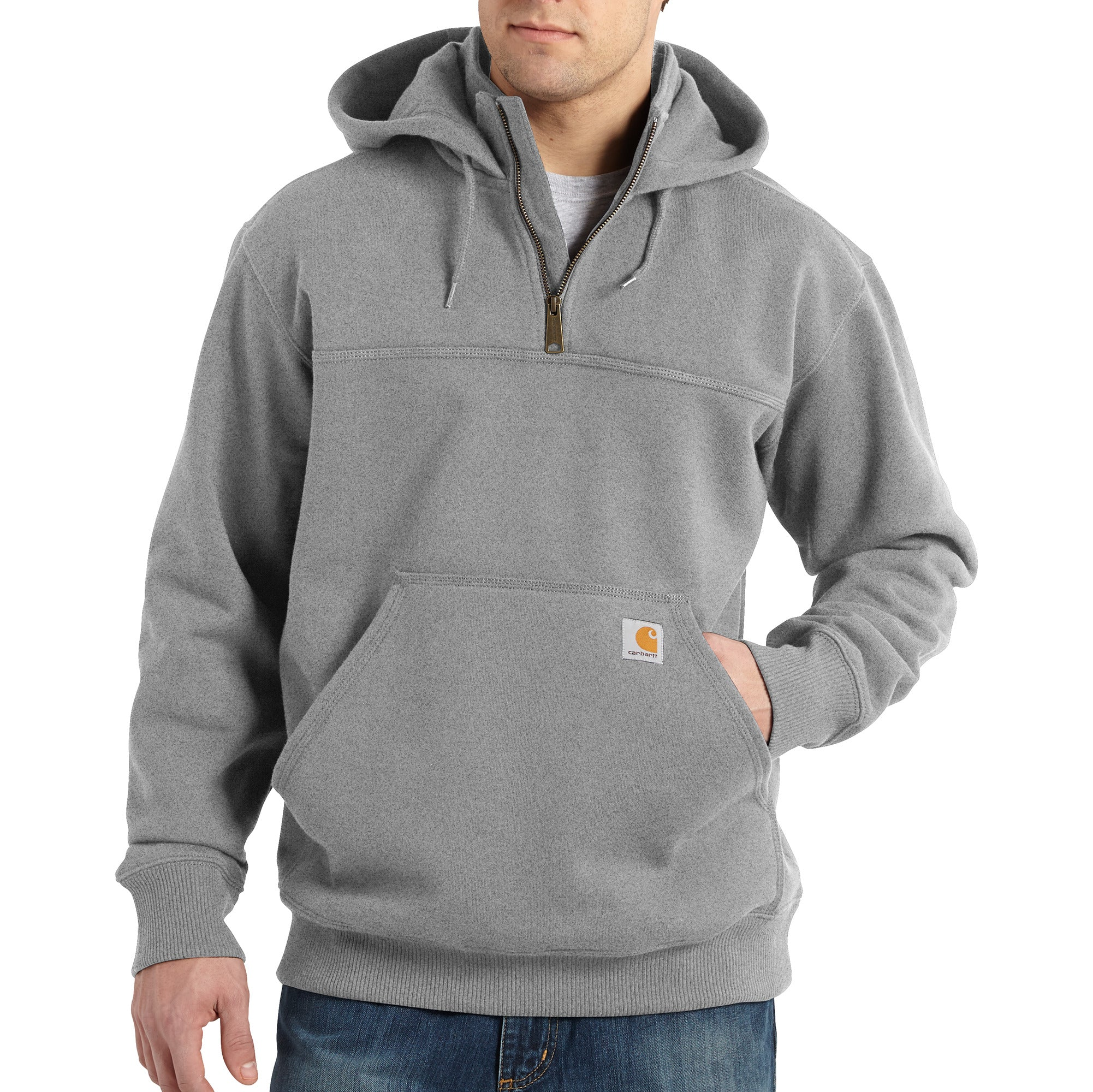 'Carhartt' Men's Rain Defender Paxton Heavyweight 1/4 Zip Hoodie - Heather Gray