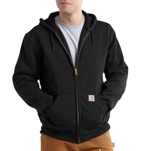 'Carhartt' Men's Rain Defender Rutland Thermal-Lined Zip-Front Hoodie - Black