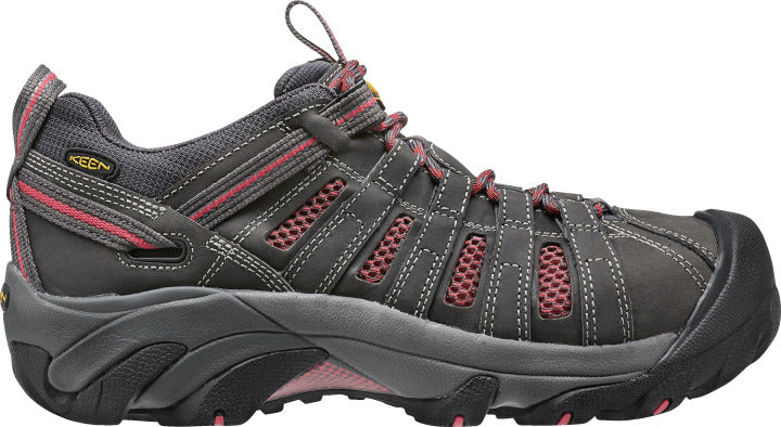 'Keen' Women's Flint Low EH Steel Toe - Magnet Grey / Rose Pink
