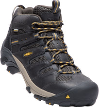 'Keen' Men's Lansing Mid WP Steel Toe Hiker - Raven Black / Tawny Olive