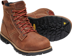 "'Keen Utility' Men's 6"" Seattle WP EH Aluminum Toe - Gingerbread Brown / Brick Red"