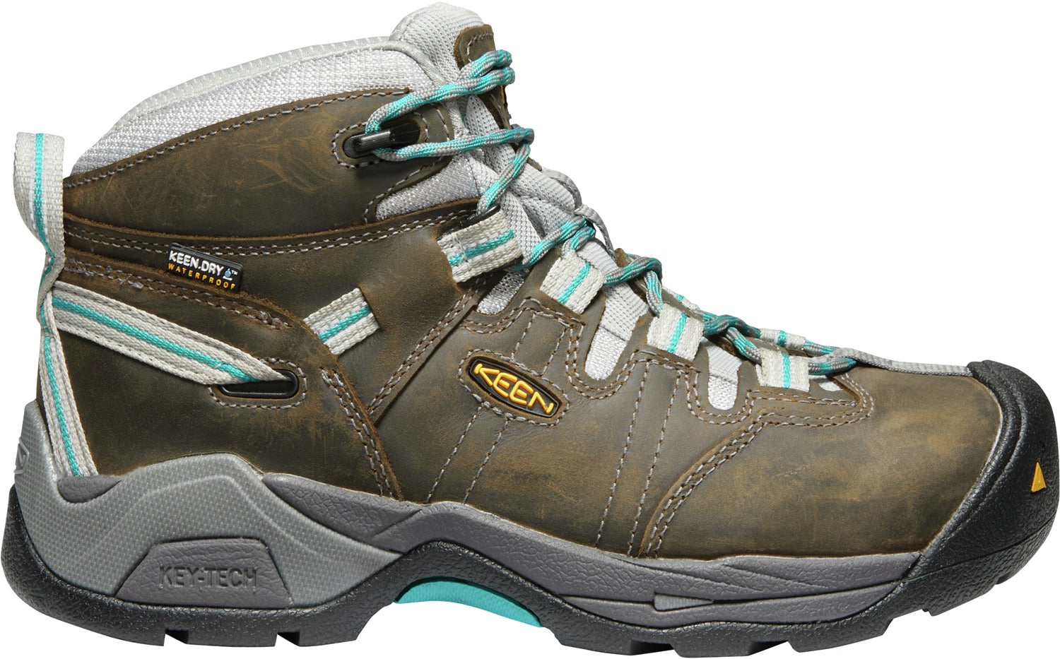 'Keen' Women's Detroit XT Mid Steel Toe WP Hiker - Gargoyle Grey / Lake Blue / Brown