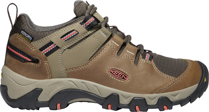 'Keen Outdoor' Women's Steens Low Leather WP Hiker - Timberwolf / Coral
