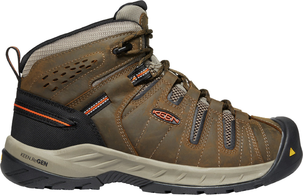 'Keen Utility' Men's Flint II Mid EH Soft Toe - Cascade Brown / Burnt Ochre