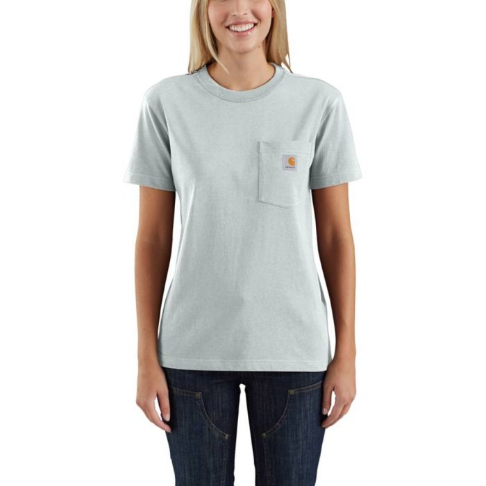 'Carhartt' Women's Lightweight Pocket T-Shirt - Tourmaline Snow Heather