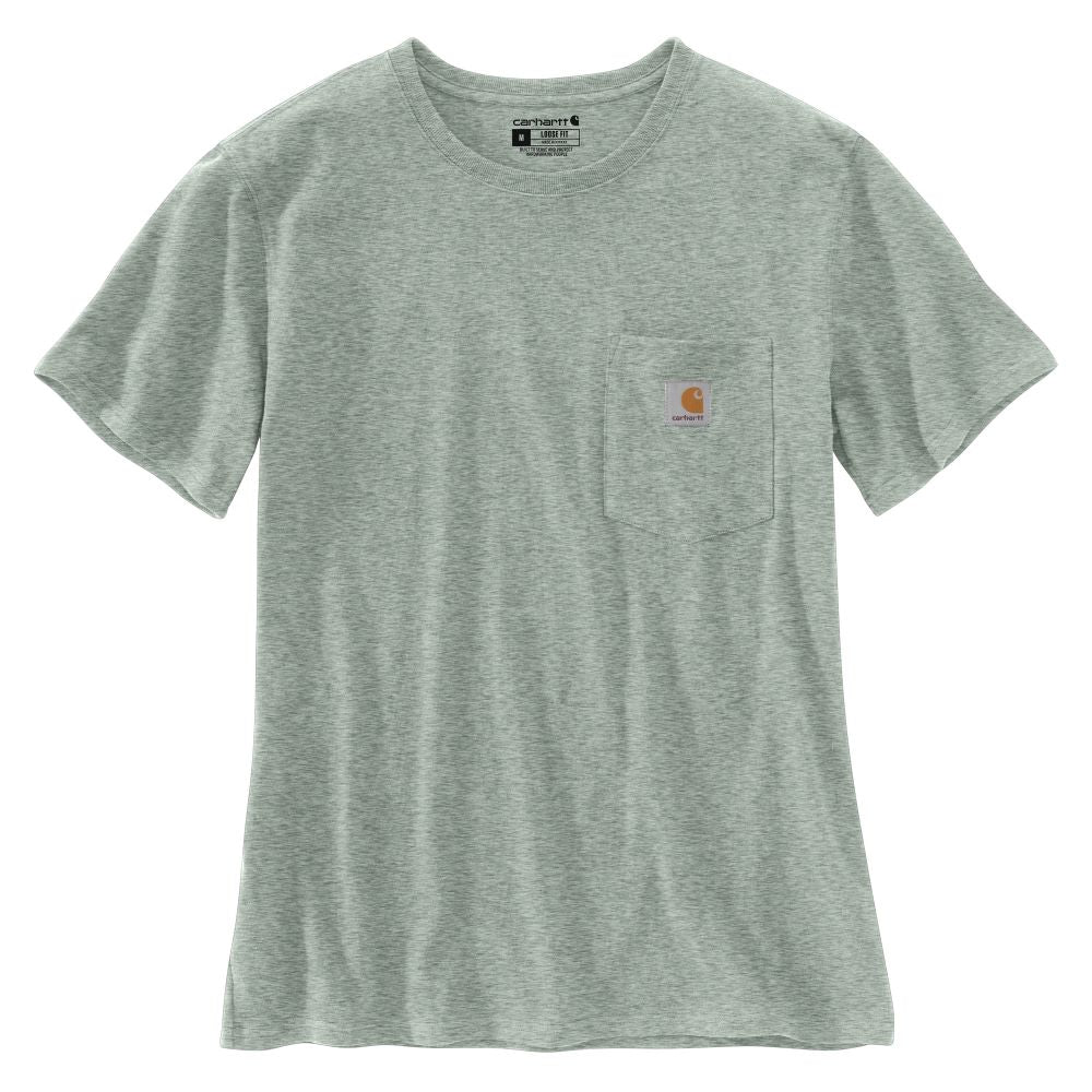 'Carhartt' Women's Lightweight Pocket T-Shirt - Leaf Green Snow Heather