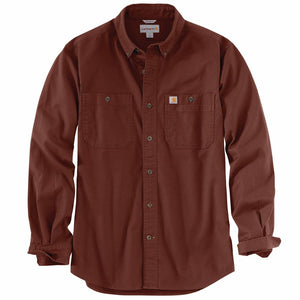 'Carhartt' Men's Rugged Flex® Rigby Work Shirt - Mineral Red