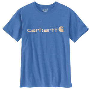 'Carhartt' Women's Sleeve Logo T-Shirt - Light Cobalt Heather