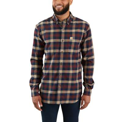 'Carhartt' 103820 253 - Men's LS Hamilton Plaid Flannel Button Down - Dark Khaki