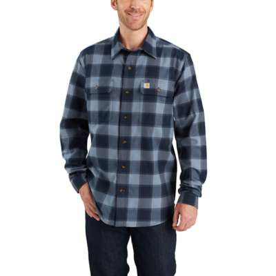 'Carhartt' 103822 437 - Men's LS Hubbard Flannel Button Down - Steel Blue