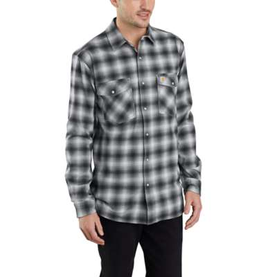 'Carhartt' 103855 029 - Men's LS Hamilton Plaid Flannel Snap - Shadow