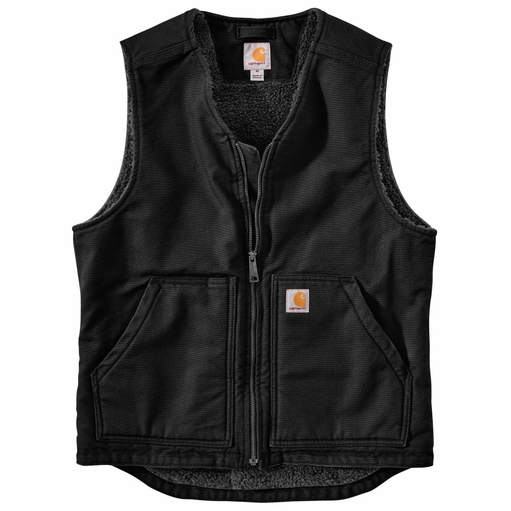 'Carhartt' Men's Washed Duck Sherpa Lined Vest - Black