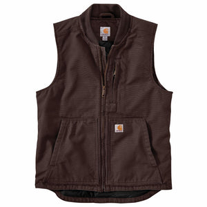 'Carhartt' Men's Washed Duck Insulated Rib Collar Vest -  Dark Brown