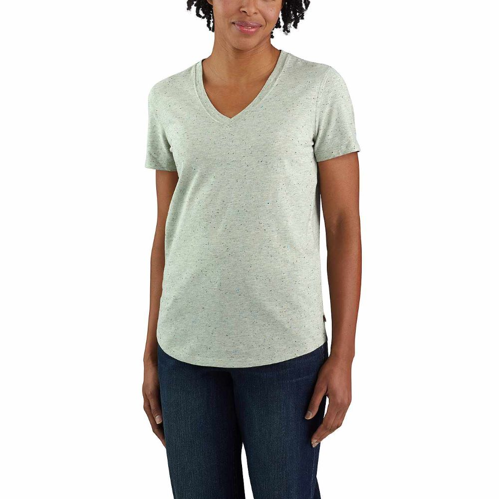 'Carhartt' Women's Relaxed Midweight V-Neck T-Shirt - Tinted Sage Heather