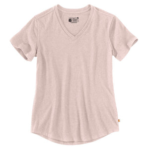 'Carhartt' Women's Relaxed Midweight V-Neck T-Shirt - Rose Smoke Heather