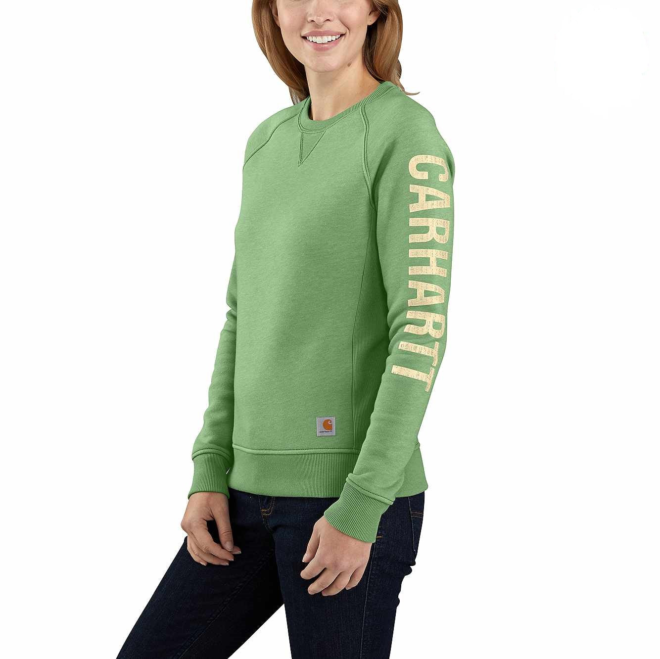 'Carhartt' Women's Relaxed Fit Midweight Graphic Crewneck - Boreal Heather