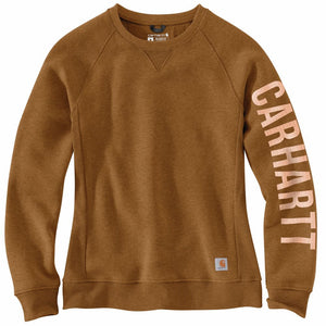 'Carhartt' Women's Relaxed Fit Midweight Graphic Crewneck - Oiled Walnut Heather