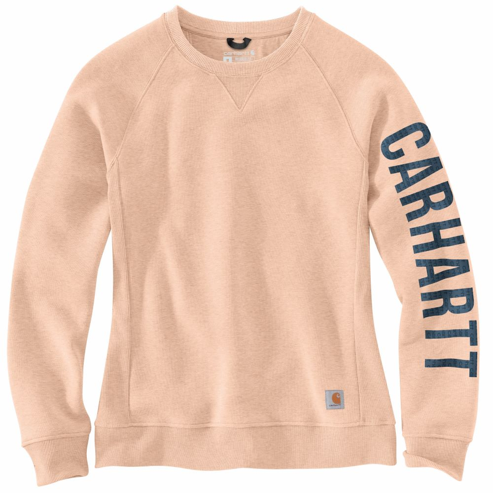 'Carhartt' Women's Relaxed Fit Midweight Graphic Crewneck - Cantaloupe