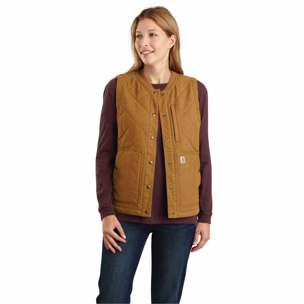 'Carhartt' Women's Rugged Flex Canvas Insulated Rib Collar Vest - Carhartt Brown