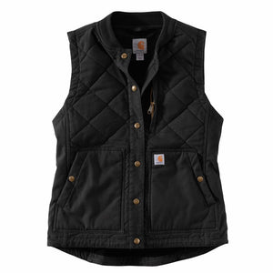 'Carhartt' Women's Rugged Flex Canvas Insulated Rib Collar Vest - Black