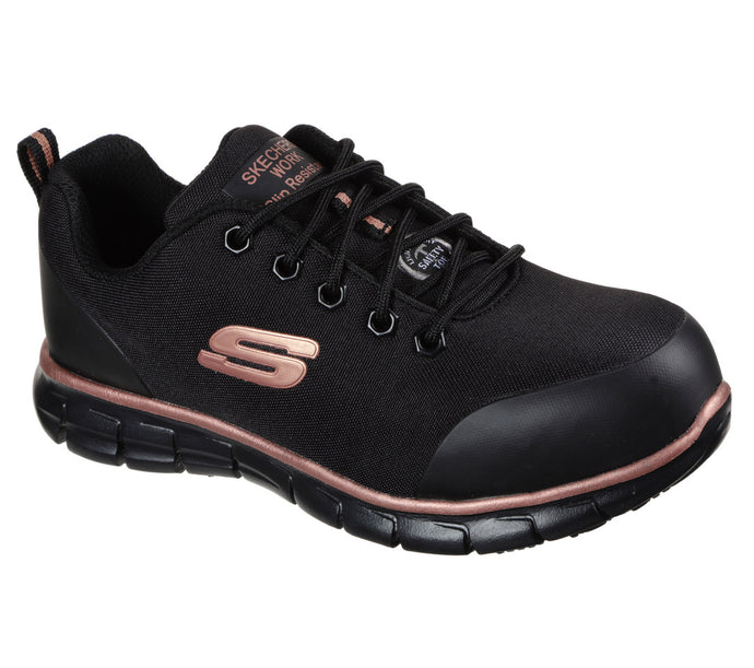 'Skechers' Women's Sure Track Chiton EH Alloy Toe - Black / Rose Gold
