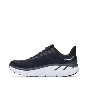 'HOKA' Men's Clifton 7 - Black / White (Wide)