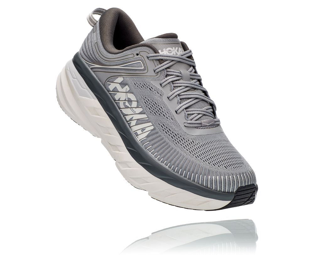 'HOKA' Men's Bondi 7 - Wild Dove / Dark Shadow (Extra Wide)