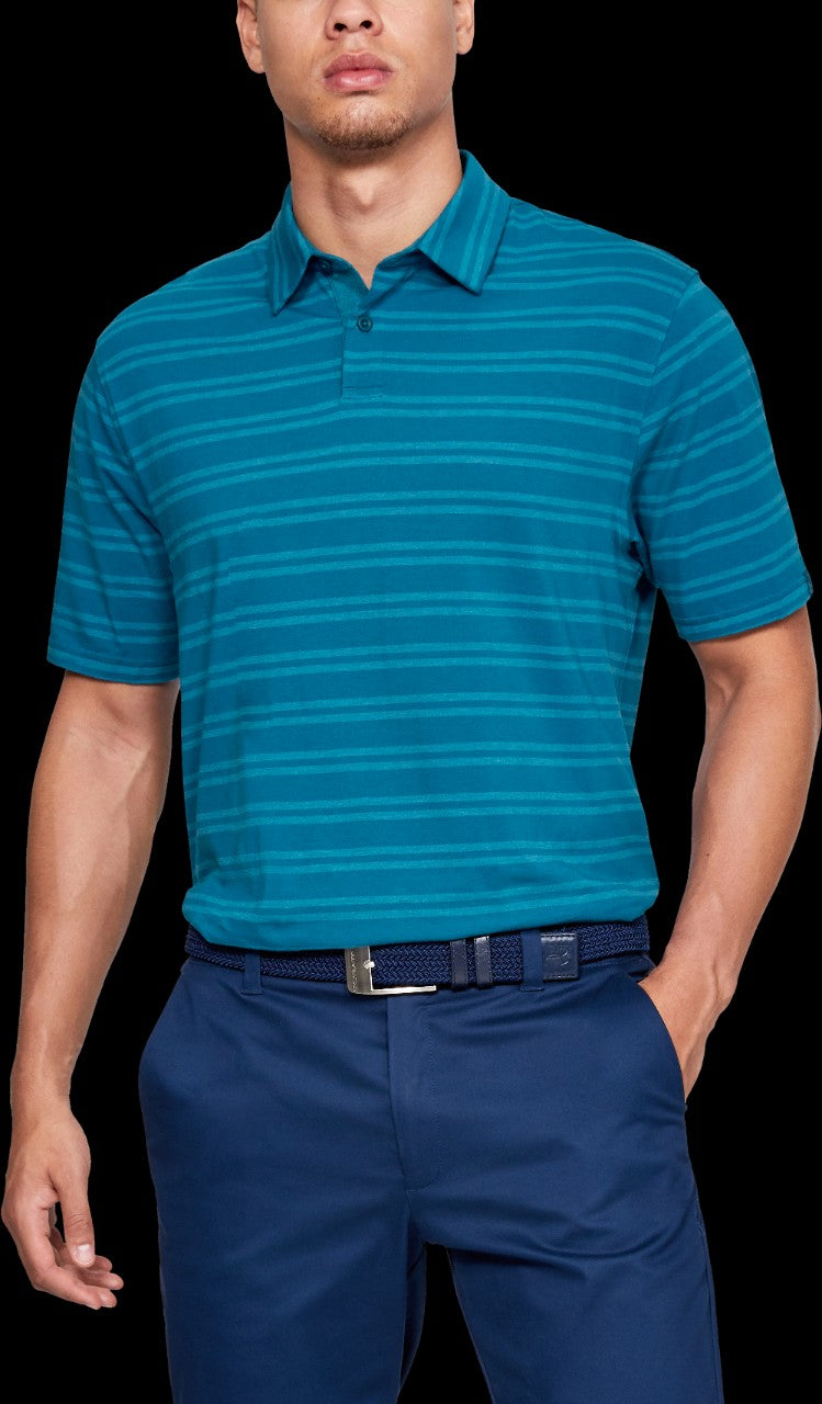 'Under Armour' 1323455 417 - Scramble Stripe Polo – Teal Vibe
