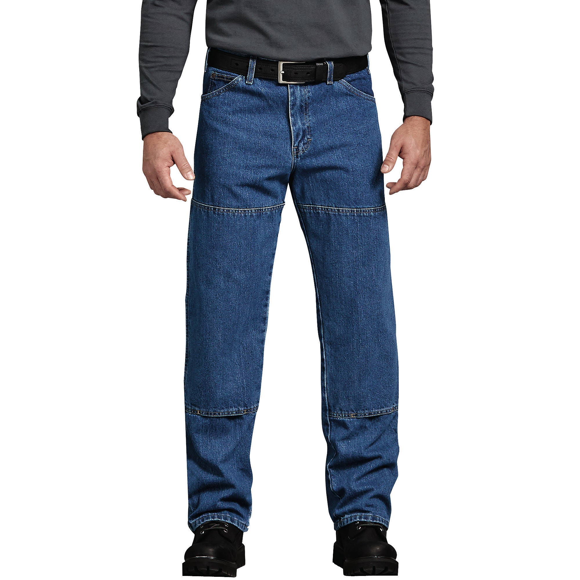 'Dickies' Relaxed Fit Workhorse Double Knee Denim Jeans - Stonewashed Indigo Blue