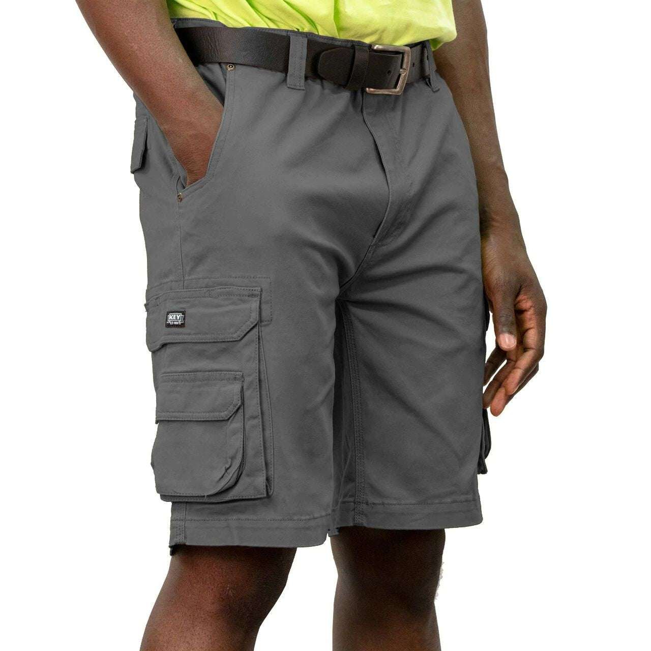 'KEY' Men's Cargo Pocket Flex Short - Smoke